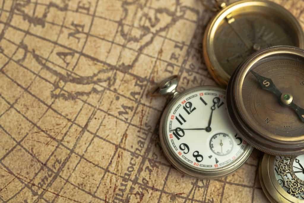 gammelt kort og kompas